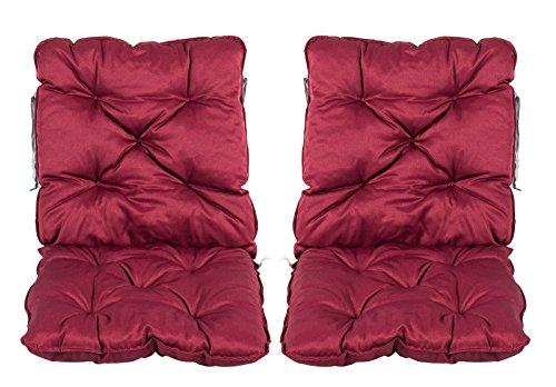 Meerweh 2er Set Rückenkissen Sessel ca. 50 x 98 x 8 cm Polsterauflage Sitzkissen, Rot, 50 x 98 x 10 cm