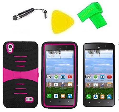 Heavy Duty Hybrid Phone Cover Case + Screen Protector + Extreme Band + Stylus Pen + Pry Tool For Straight Talk Tracfone NET10 Huawei Pronto LTE H891L / Ascend SnapTo G620-A2 LTE (S-Hybrid Black Pink)