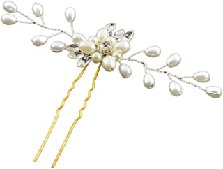 8ca9e11d5b Ziory Pearl White Festival Floral Hairpin Beautiful Hair Clip Accessories  for Women (Juda Pin)