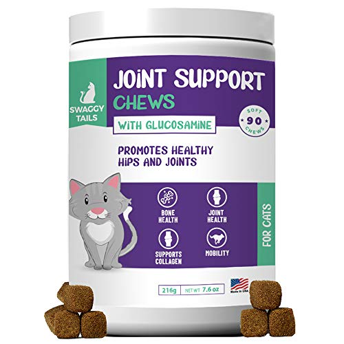 SWAGGY TAILS Glucosamine for Cats  Joint Inflammation Supplement  Cat Joint Chews - Joint Support for Cats with MSM  Chondroitin  Antioxidants - Premium Arthritis Pet Supplements (90 Chews)