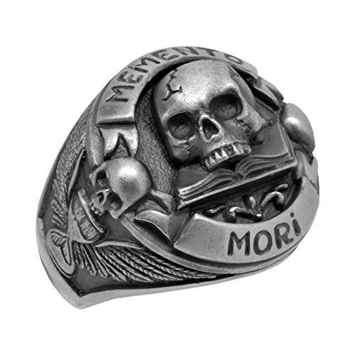 Freimaurer Skull über Buch Memento Mori Herren Biker Ring, Sterling-Silber 925Custom Made - 68 (21.6)