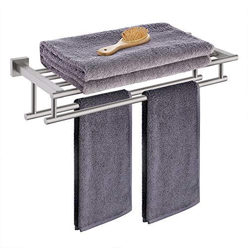 KES Toalleros de Baño con Doble Barras, Toalleros Repisa para Baño Pared Acero Inoxidable Cepillado 60CM, A2112S60-2