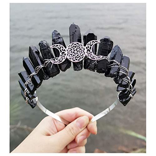 """""""N/A"""" Fashion Retro Dress Up Bandeau Cristal Electroplate Crystal Accessoires De Cheveux, 3 Accessoires De Lune Creuse Bandeau De Cristal Naturel à La Main(Color:F)"""