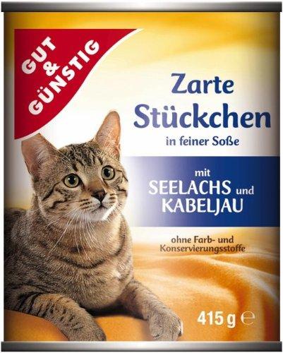Gut & Günstig Hello My cat Zarte Stückchen mit Seelachs in feiner Sauce im 5er Pack (5 x 415g)