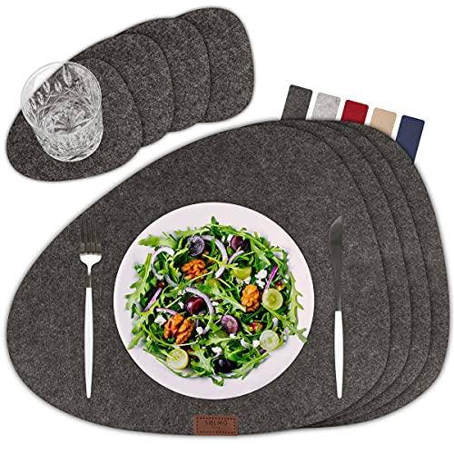 sølmo I designer bordstablett grå av filt – oval I värmebeständig I 4 bordstabletter med underlägg, bordstablett I bordsdekoration vår och sommar, grå [Dark Stone]
