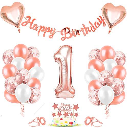 1er Cumpleaños Globos, Decoración de cumpleaños 1 en Oro Rosa, Cumpleaños 1 Año Globos Niñas, Feliz Cumpleaños Decoración Globos 1 Años, Globos de Confeti y Globos de Aluminio para niñas y Mujeres