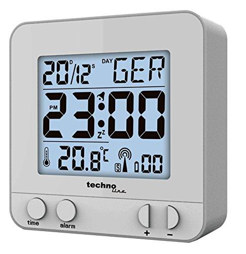Technoline WT 235-Funkwecker Silber Funkwecker mit Touchsensor, Plastik, 8 x 2.5 x 8 cm
