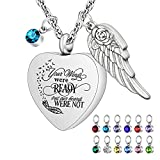 Heart Urn Necklaces for Ashes with 12 Pcs Birthstones Cremation Necklace for Human for Pet Ashes Stainless Steel Cremation Pendant with 22' Chain- Your Wings Were Ready, But Our Hearts Were Not silver