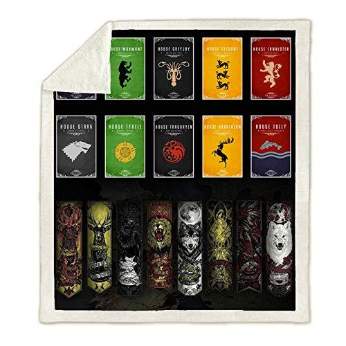 """WTTING - Coperta e plaid con motivo """"Game of Thrones"""", stampata, 3D, in flanella, per uso in campeggio, per adulti (O,100 x 140 cm)"""