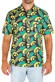 Tellum and Chop Mens Iowa Hawkeyes Hawaiian Button Down Short Sleeve Floral Shirt  X-Large Black Green Corn Print