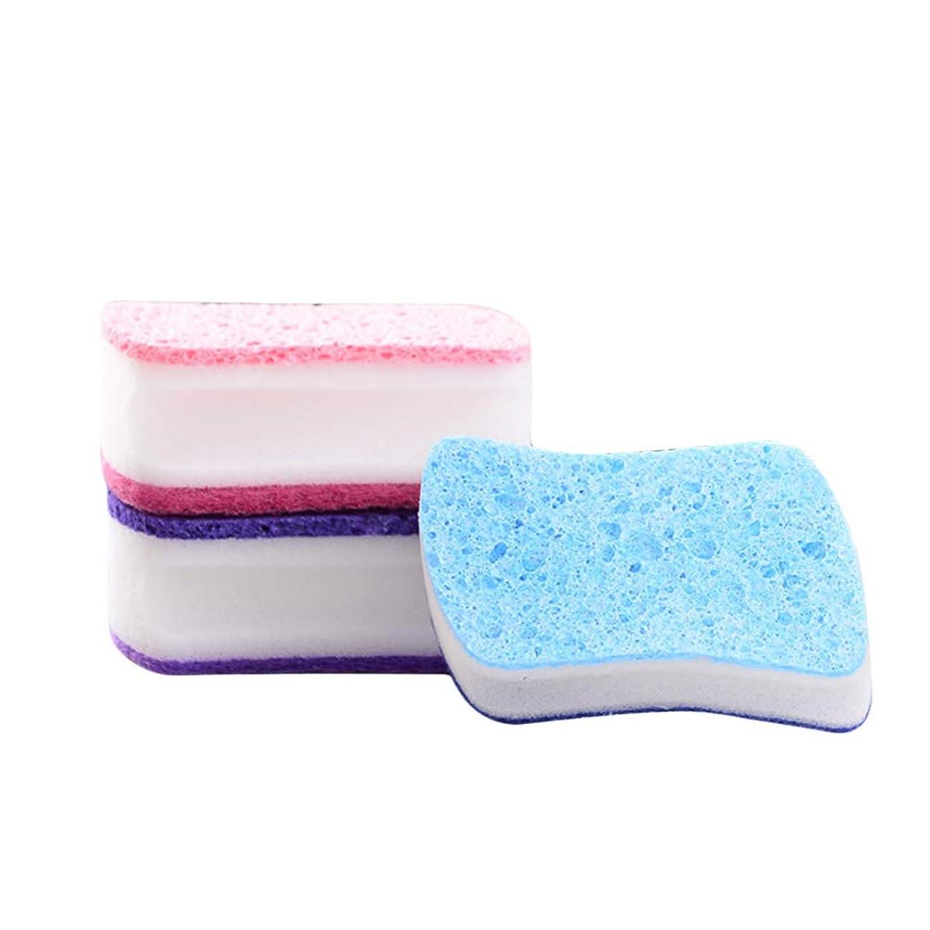 散るホステル回復TOPBATHY キッチン食器洗いスポンジスクラビングクリーニングパッド用キッチンバスルームカー3本(混合色)