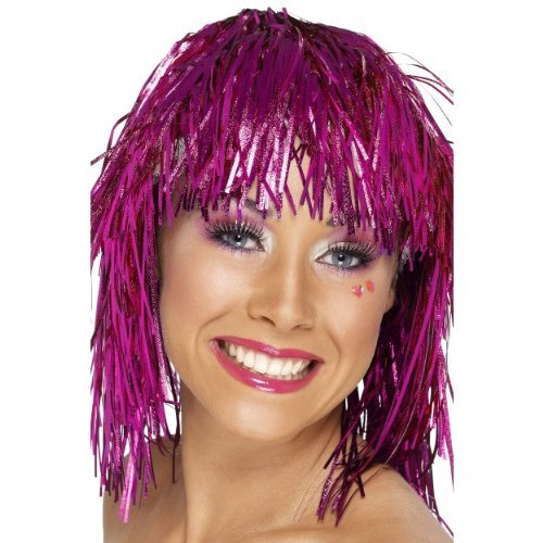 Gemz Fancy Dress Cyber Tinsel Wig - Pink by Partyrama