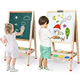 Kids Easel Double-Sided Magnetic Whiteboard & Chalkboard Multiple-Use Easel with Bonus Magnetics, Numbers, Paint Cups Best Gift for Kids Boys Girls