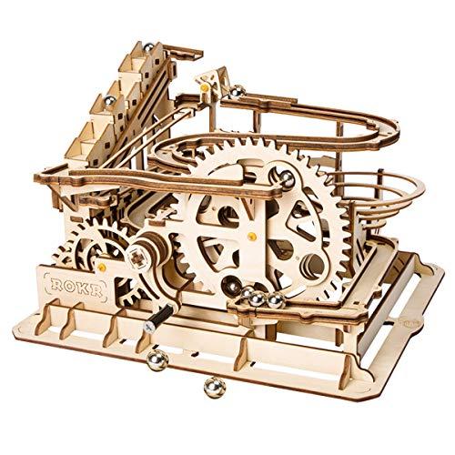 Robotime Montagne Russe Mecapuzzle Puzzle 3D Bois - Construction Circuit a Bille en Bois - mecanique découpé au Laser Casse Tete Jeux de Construction