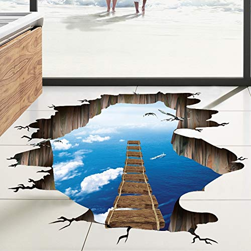 PotteLove 3D Bridge Wall Sticker Floor Sticker Peel and Stick Wall Decals for Kids Room Floor Living Room Parlour Home Decor