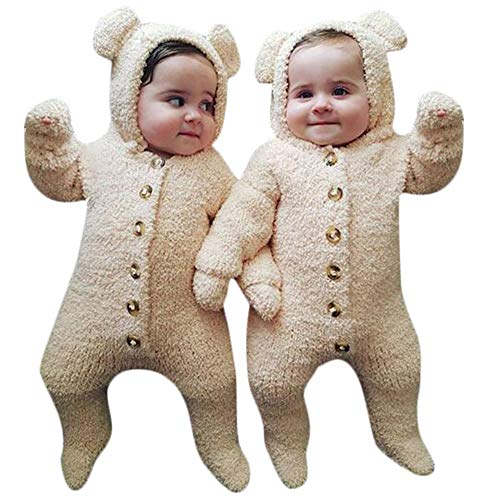SUCES SUCES Baby Jumpsuit, Warm Verdicken Neugeborenes Cartoon Bär Outwear Knopf Niedlich Bequem Einfarbig Strampler Hoodies Outfits Lange Hülsen Overall (Beige,70)