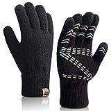 Maylisacc Guantes Táctiles Mujer de Invierno Cálido con Empuñadura de Goma, Diseño de Pantalla Táctil de dos Dedos, Guante de Lana Mezclada Gruesa y Cálida (Negro)