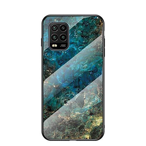 BeyondTop Funda para Xiaomi Mi 10 Lite 5G Marmol Case Tapa Trasera de Cristal Templado con TPU Edge Carcasa para Xiaomi Mi 10 Lite 5G (BLU)