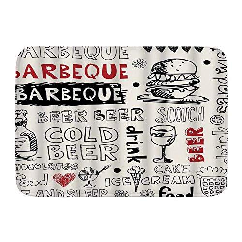Fußmatten, Kritzeleien Barbecue Kaltes Bier Scotch Food Eiscreme Kuchen Sandwich Drink Burger, Küchenboden Badteppichmatte Saugfähig Innenbadezimmer Dekor Fußmatte Rutschfest