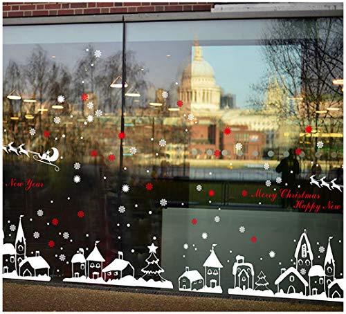 Tuopuda® Natale Vetrofanie Rimovibile Adesivi Murali Fai da te Finestra Decorazione Vetrina Wallpaper Adesivi Natale Cervo Fiocco di Neve Cittadina (rosso)