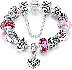 A TE® Charm Pulsera Abalorio Murano Cristal Vidrio Perlas con Cadena de Seguridad #JW-B110 (Rosa 18cm)