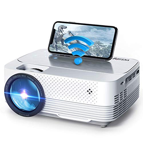 Mini Proyector,VicTsing Proyector WiFi 6000 Lúmenes,Mini Proyector Portátil de Native 720P Soporta Full HD,Pantalla Táctil,80000Horas,TV Stick/Smartphone/PC/iPad/Chromecast/PS4/USB/IOS/Android/DVD