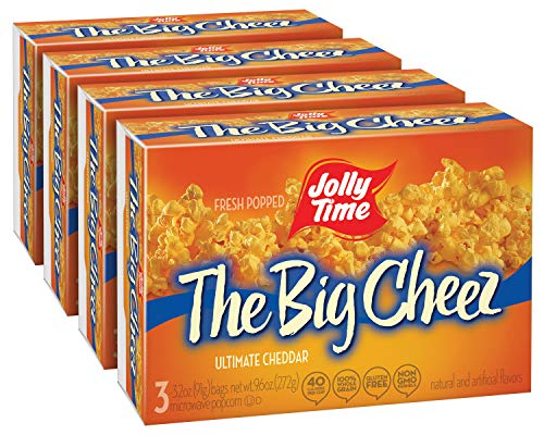JOLLY TIME Gourmet Microwave Popcorn, Gluten Free Non-GMO, 4 Pack 3 Count Boxes (The Big Cheez)