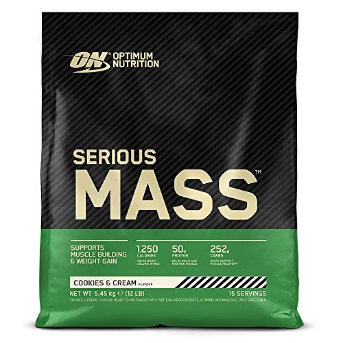 Optimum Nutrition ON Serious Mass Hochkalorisches Weight Gainer Protein Pulver, Whey Protein, Vitamine, Kreatin und Glutamin, Cookies und Cream, 16 Portionen, 5.45kg, Verpackung kann Variieren