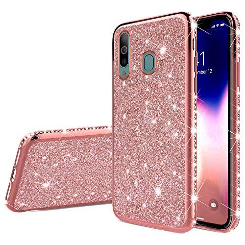 Robinsoni Samsung Galaxy A60 Coque Glitter de, Coque Silicone Glitter Sparkle Paillette Strass Brillante Etui Housse de Protection Souple en Gel TPU Métal Coque pour Galaxy A60,Rose Gold