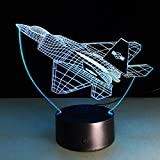 Aviones 3d Night Lights Air Plane Fighter Table Lamp 7 Cambio de color Usb Power Decor Gift Night Light para niños