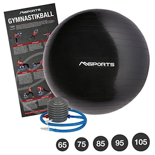 MSPORTS Gymnastikball Studio inkl. Pumpe 55 cm - 105 cm Sitzball - Fitnessball inkl. Übungsposter Medizinball (Anthrazit, 105 cm)