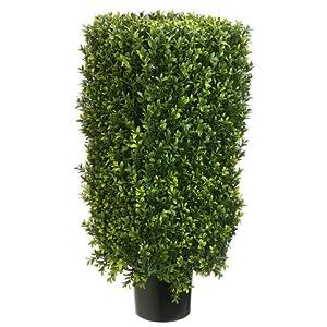 Arcadia Silk Plantation 30″ Rectangular Boxwood Topiary in Plastic Pot Two Tone Green