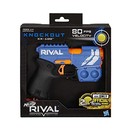 NERF Rival Knockout XX-100 Blaster -- Round Storage, 90 FPS Velocity, Breech Load -- Includes 2 Official Rival Rounds -- Team Blue