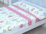 Juego de sábanas Infantiles de Microfibra Transpirable Mod. Pink Horse (Cama de 90 cm (90_x_190/200 cm))