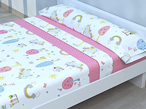 Juego de sábanas Infantiles de Microfibra Transpirable Mod. Pink Horse (Cama de 105 cm (105_x_190/200 cm))