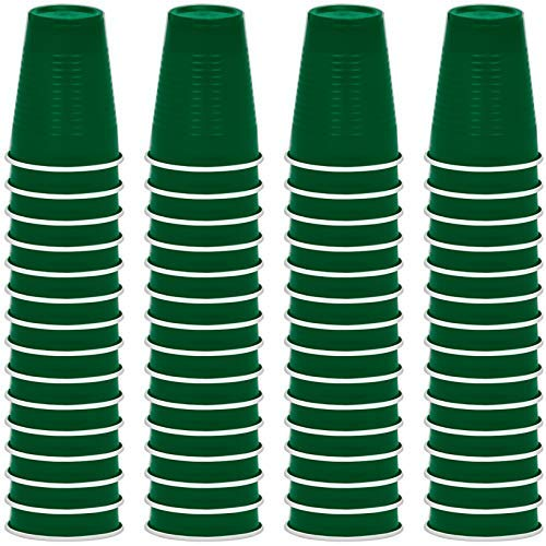 DecorRack Party Cups 12 oz Reusable Disposable Cups for Birthday Party Bachelorette Camping Indoor Outdoor Events Beverage Drinking Cups (Dark Green, 60)