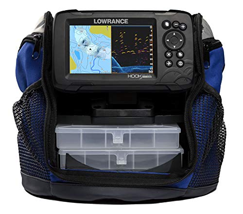Lowrance HOOK Reveal 5 SplitShot Ice Pack - 5-inch Fish Finder with Ice Transducer, Preloaded C-MAP US Inland Mapping