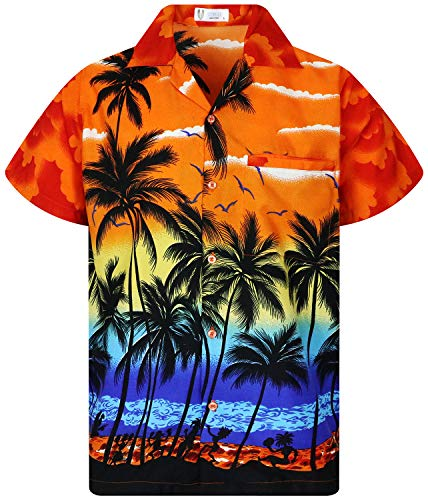 V.H.O. Funky Hawaiihemd, Kurzarm, Beach, orange, XL
