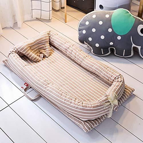 HYXXQQ Wasbaar katoenen babybed draagbare baby slaap nest 360 graden bescherming (4-delige set) pasgeboren babybed, 0~2 jaar oud baby afmetingen: 90 x 55 x 15 cm