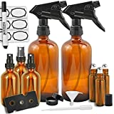 Duracare Amber Glass Spray Bottles (16oz), Essential Oil Roller Bottles (10ml) and Mist Sprayers (2oz) - for Essential Oils, Cleaning Products and Aromatherapy