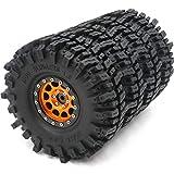 4pcs RC 1.9 Mud Slingers Tires Super Grip Tyre Height 120mm/4.72inch & 1.9 Beadlock Rim Wheel Black Orange Color Hex 12mm