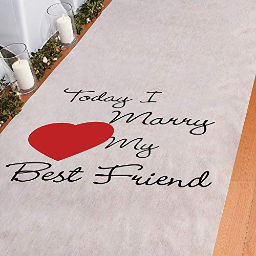 Today I Marry My Best Friend Wedding Aisle Runner (100 feet Long) Wedding Ceremony Decor