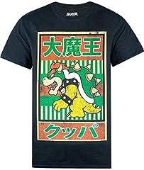 Super Mario Camiseta de Manga Corta Vintage Bowser Japanese Poster