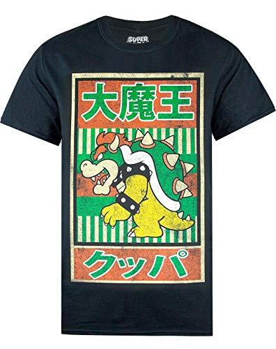 Super Mario de Camiseta para Hombre Negra Vintage Bowser póster japonés Top de Manga Corta (3XL)
