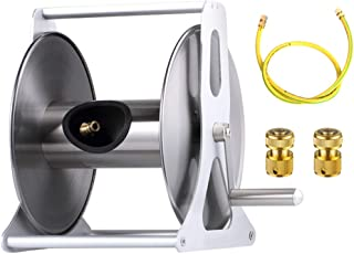 WINGOFFLY Stainless Steel Hose Reel Water Hose Holder & Storage Holds 147-Feet of 5/8-Inch Hose with Hose Connectors Accessories(Style B)
