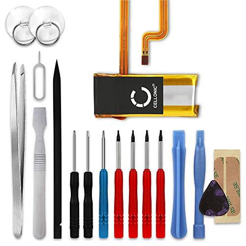 CELLONIC® Qualitäts Akku kompatibel mit Apple iPod 5 Gen A1136 5.5 Gen A1136 iPod 6 Gen A1238 Classic iPod 7 Gen A1238 Classic Late 2008 2009, 604417 616-022 616-0230 616-0412 450mAh + Werkzeug-Set