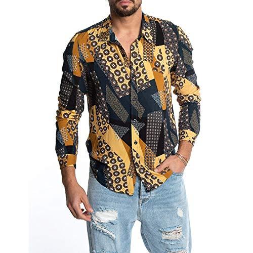 Camisa de Trabajo de Ajuste estándar de Manga Larga para Hombre Camisa de Manga Larga Estampada con Solapa de Caballero Talla Grande Casual Medium