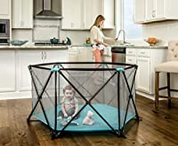Regalo My Play Portable Play Yard Indoor and Outdoor, Bonus Kit, Includes Carry Case, Washable, Aqua, 6-Panel by Regalo International