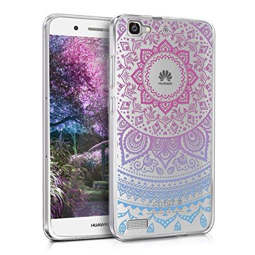 Huawei GR3 / P8 Lite SMART Hülle - Handyhülle für Huawei GR3 / P8 Lite SMART - Handy Case in Indische Sonne Design Blau Pink Transparent