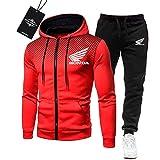 MAUXpIAO de Los Hombres Chandal Conjunto Trotar Traje Ho.n-da.s Hooded Zipper Chaqueta + Pantalones Deporte R Deportes /  Rojo/XXXL